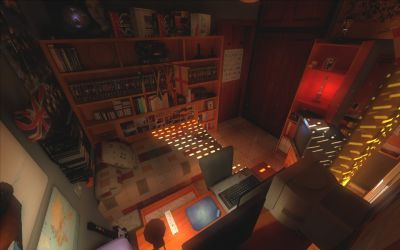 Baxayaun's Room - A Source Engine scene combining HDR lighting and hi-resolution textures.